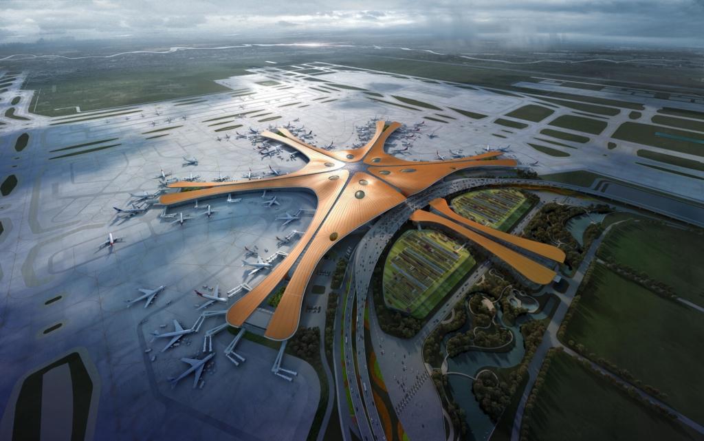 Uue Pekingi Daxingi rahvusvahelise lennujaama 3D-joonis. Foto Zaha Hadid Architects