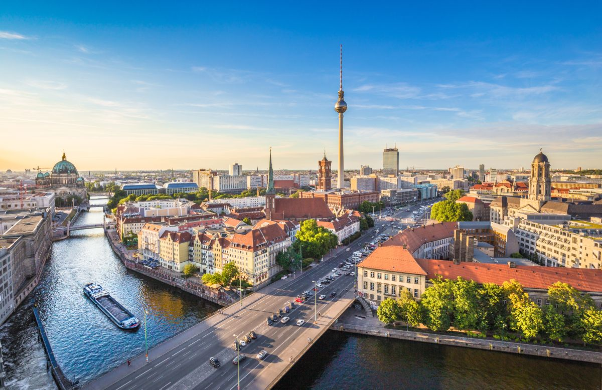 Aerial,View,Of,Berlin,Skyline,And,Spree,River,In,Beautiful